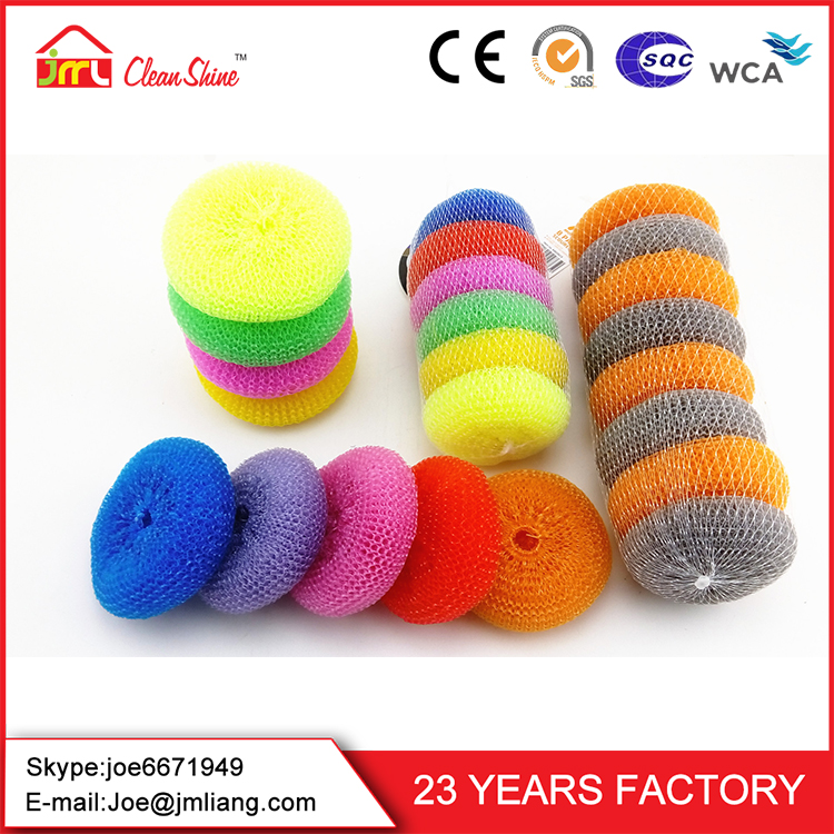 High Quality Dish Washing Colorful Plastic Mesh scour Pot Scrubbers