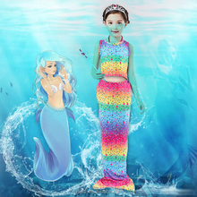Rainbow colorful bathing suit mermaid tail swimsuit for kids swimming