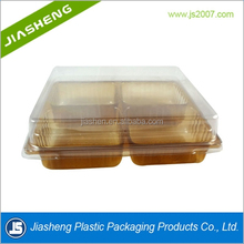 dongguan manufacture plastic 4 compartment tray cake boxes with clear window