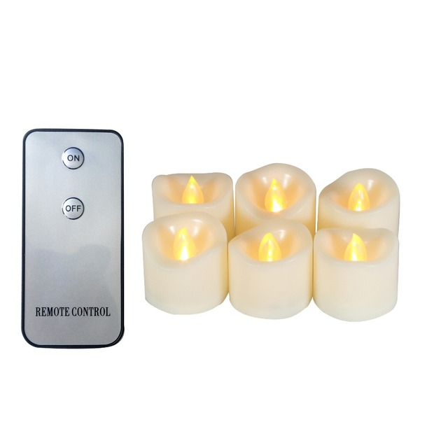 6 PCS Realistic Flickering Flameless Candle , Wedding home Votive Candles with Remote