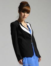 2014 new style fashion women's winter warm long coat jacket slim fit notch lapel black blazer