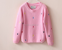 Pink long sleeve girl knitting wear rabbit embroidered children girl sweater pullover