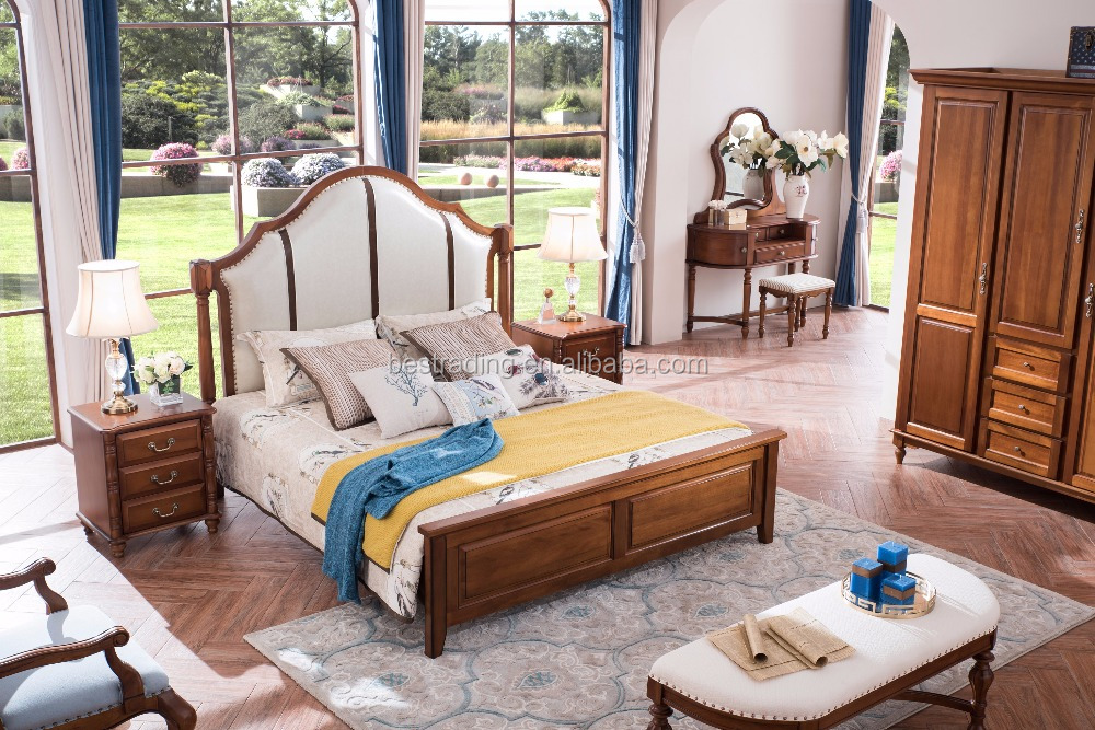 Super Queen Bed with Sleigh Headboard antique bedroom set / amercian style solid wood bedroom