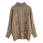 Autumn/Winter Short Knitted Retro Cable Jersey Sweater For Women
