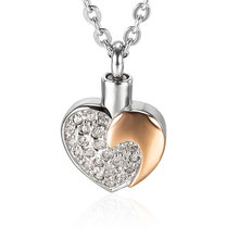 Marlary Stainless Steel Heart Cremation Jewelry Ash Urn Necklace Pendant