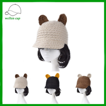 sport style beanie hat handmade decorated ear winter knitted hat with short brim