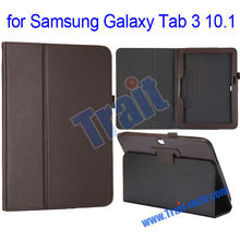Factory Pirce! Lichee Pattern Folio Leather Stand Case for Samsung Galaxy Tab 3 10.1 GT-P5200 with Pen Holder