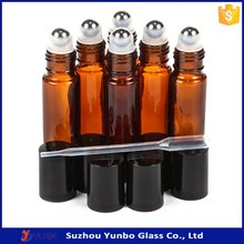 5ml 10ml glass roll on perfume bottle with stainless steel roller ball, mini roll on bottle