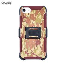 Camouflage Shell Holster Combo Case For Apple iPhone 8 Plus With KickStand Swivel Belt Clip