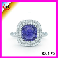 Fashion 925 Silver Diamond Ring Semi Mount Setting Engagement Blue Diamond Ring