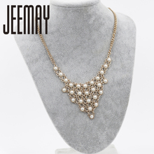 New Trendy Fashion Metal Pearl Pendant Necklace