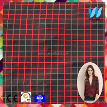 Wanbu polyester spandex elastance fabric plaid style soft touch red color