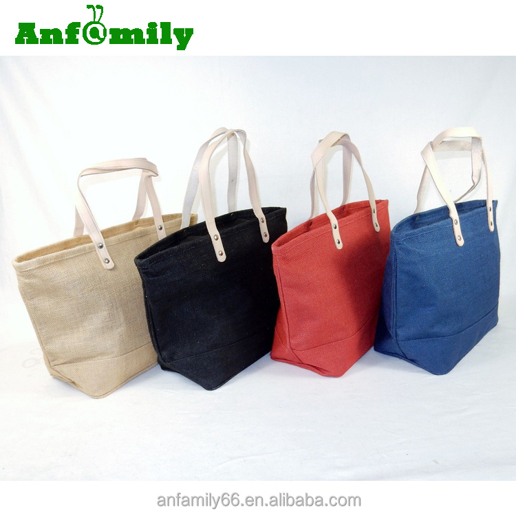 2017 Hot Selling Lady Fashion Women Holiday Shopping Handbag Jute Tote Bag with Leather Handles