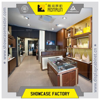 Wooden, glass display showcase and wall display shelf furniture for famous brand leather bag promotion sales
