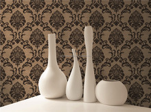 goldern and black wallpaper for bar hotel decoration / luxury damask wallpaper /italian classic wallpaper