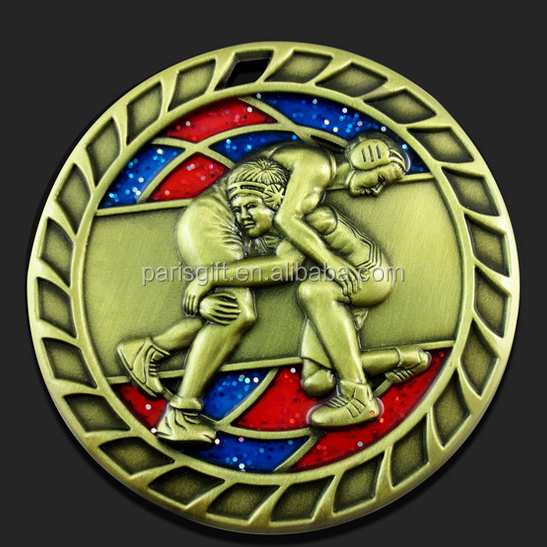 Custom Martial arts 3D Challenge Coin with glitter