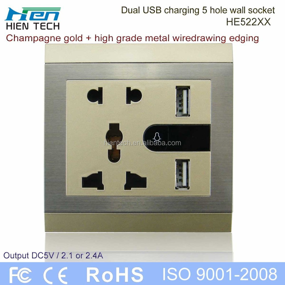 Wholesale electrical switch socket high quality USB wall socket universal type double USB ports
