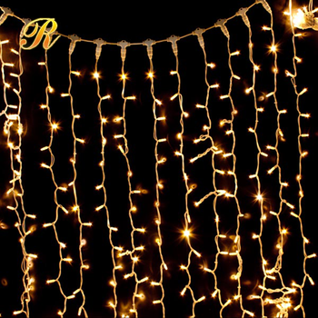 Warm White LED curtain lights rainproof for wedding party