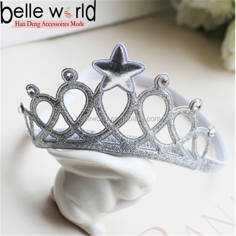 Baby pearl crown princess elastic hair headband accessories with rhinestone