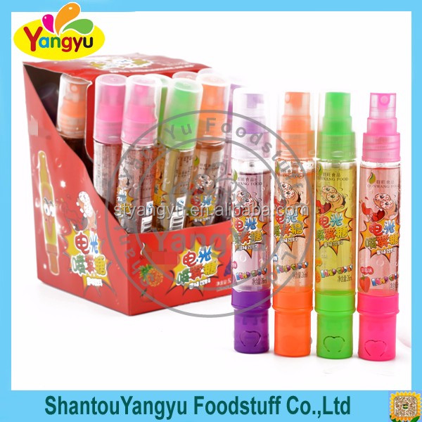 Custom colour many color different flavor with light liquid cute bottle spray candy