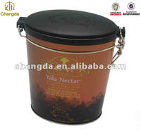 Oval shape storage tea tin box with seal rubber tin container CD-249