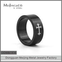 Black Plated Sample Wedding Ring Designs Jesus Cross Ring Men