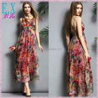 Summer Vacation Beautiful Floral Print Silk Fabric Flowing Woman Dress Sexy Long Beach Slip Dresses