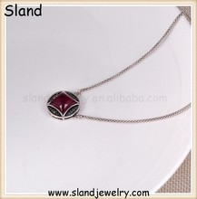 SLand jewelry manufacturer wholesale personalized thai 925 sterling silver red corundum necklace 46cm+2cm extensions chain