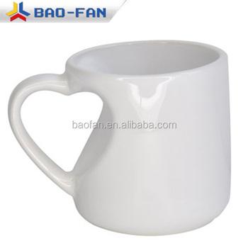 New Design 12oz Heart Handle Mug Blank White Sublimation