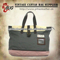 Contrast oil cloth canvas and pu leather brief case