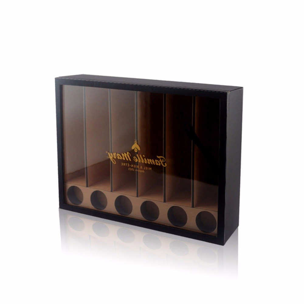 Custom luxury faux leather 6 bottle wine display box