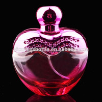 high quality 100ml lady beautiful heart shape perfume bottle women pink perfume glass bottle with cap and pump logo printing