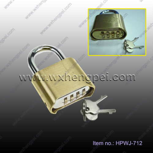 brass padlock with 4-combination bottom/ Brass Combination Number Pad Lock security lock