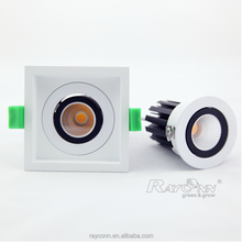 CE RoHs FCC listed rotatable 8w cob low profile square led ceiling spot light