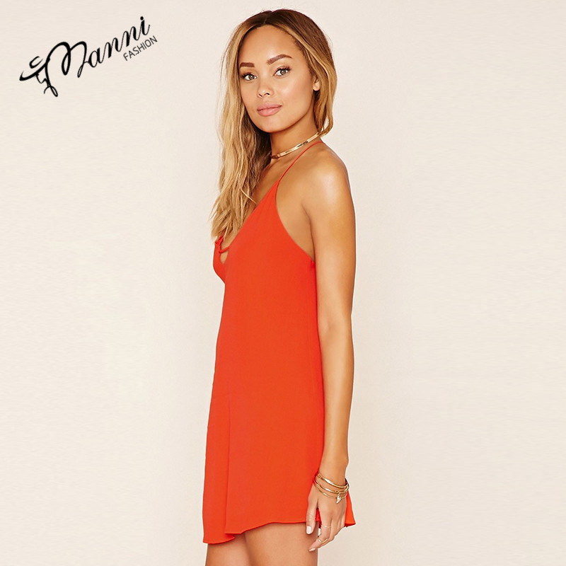 Bright color backless dresss with houlder-straps