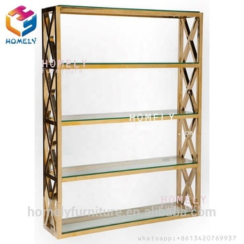Four layers gold stainless steel  tempered glass top wine display rack from homely furniture
