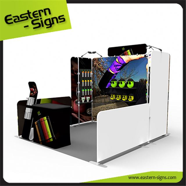 Custom made aluminum printed fabric advertising display easily carry exhibition booth system panel