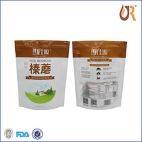 clear food grade customized zip lock/zipper seal plastic bag for coffee and tea