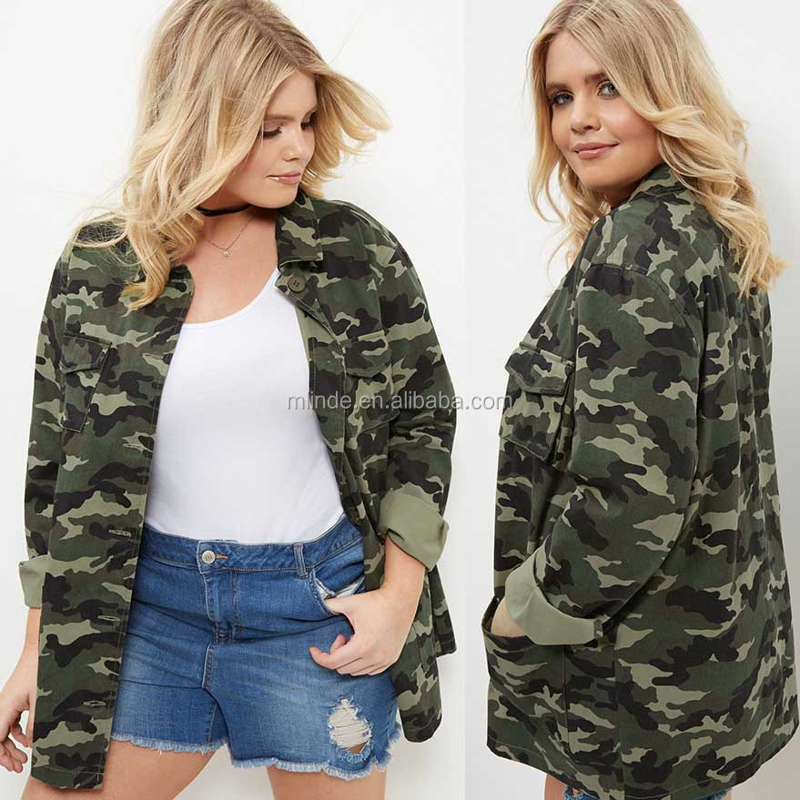 Women Plus Size Clothing XXX 100% Cotton Casual Collared Neck Buttoned Green Camo Print Shacket Military Camouflage Jacket