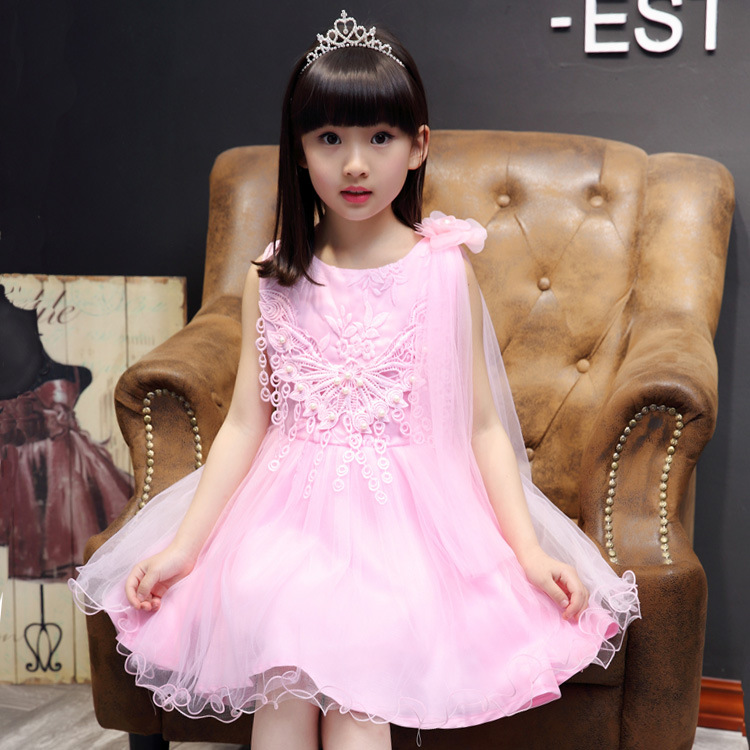 SY-1708 Wholesale 4-15Years Girl Hot Children Princess Flower Dresses
