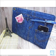 Small MOQ jeans leather material with card holder pouch wallet leather case for ipad mini