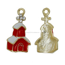 Yiwu Factory Directly Selling Alloy Red & White Enamel Colors Clear Crystal Church Charms Pendants Religious Jewelry Wholesale