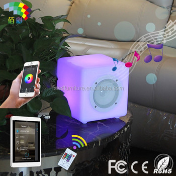 Intelligent rechargeable Led cube bluetooth music speaker with remote control
