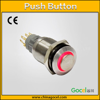 16mm with LED ring light 2NO2NC momentary switch waterproof 8 pin touch switch S2GQH-22E/S