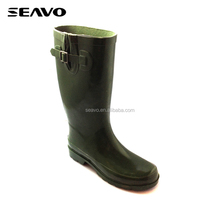SEAVO SS18 footwear back foam lining buckle ankle high rubber women rain boot for fishing shoes