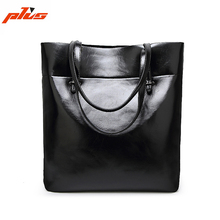Black/Wine Womens Leather Shoulder Bag Real Leather Custom Tote Bag