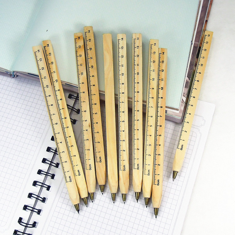New handmade wooden Environmental Ruler design Manual DIY Multifunction ballpoint pen ballpen