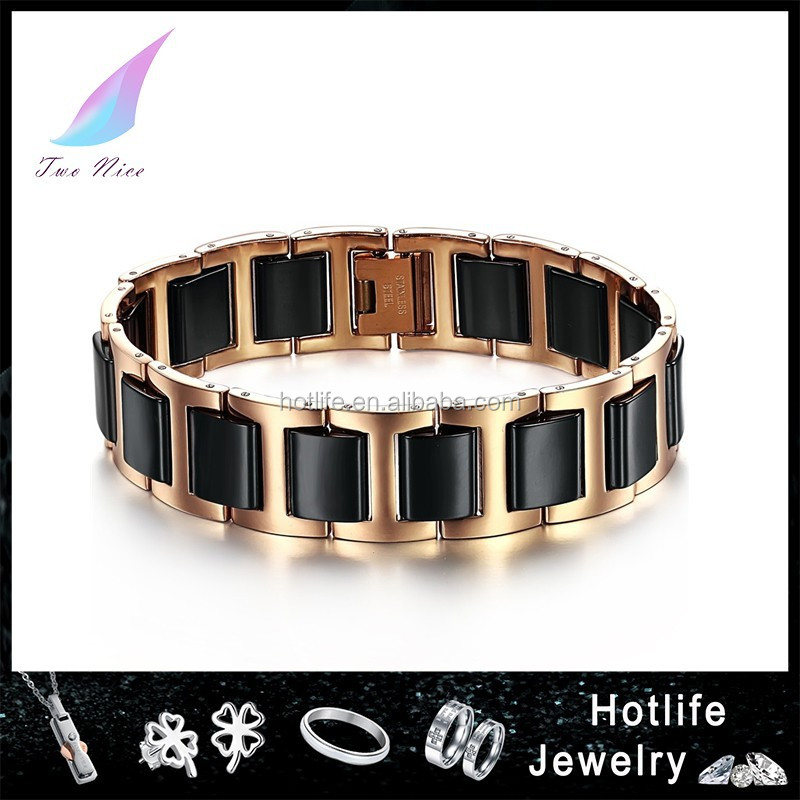 2014 New Arrival low MOQ business ceramic mens solid gold bracelets