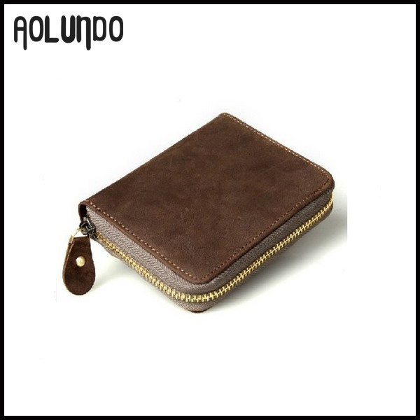 Small Round Zipper Wallet Leather Euro Coin Case