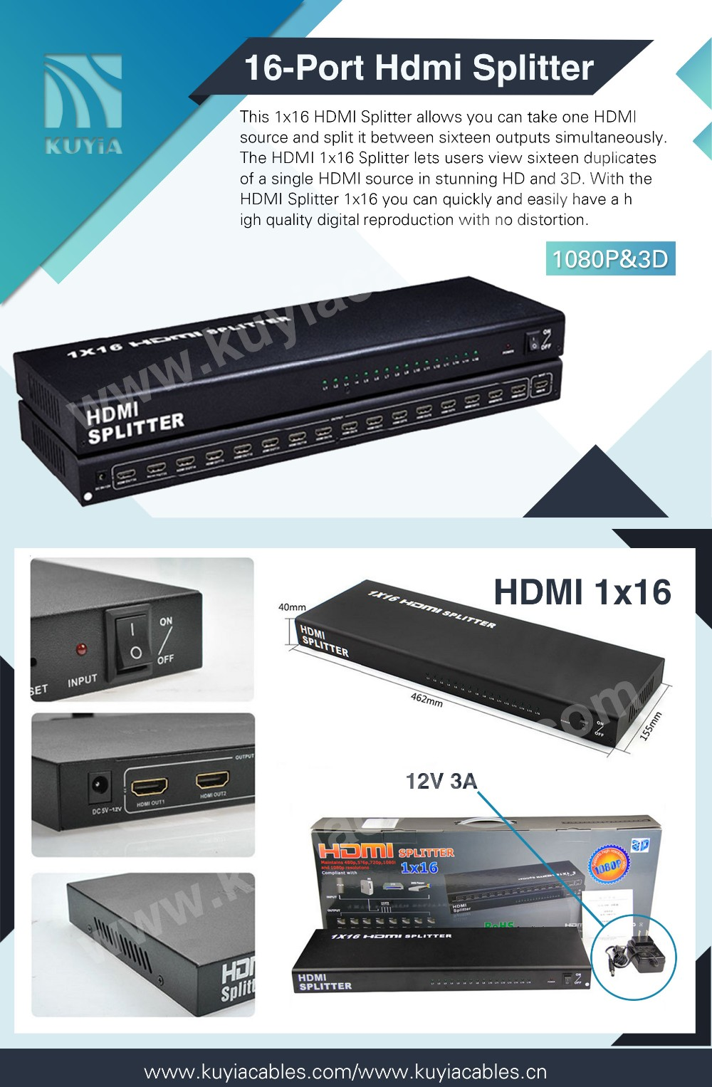 KuYia 1x16 HDMI Splitter 1X16 HDMI splitter 1in 16 out 16 port video converter connector adapter support 3D 1080p